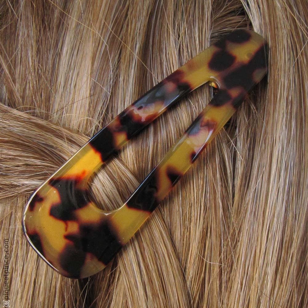 barrette à cheveux clic clac écaille foncé