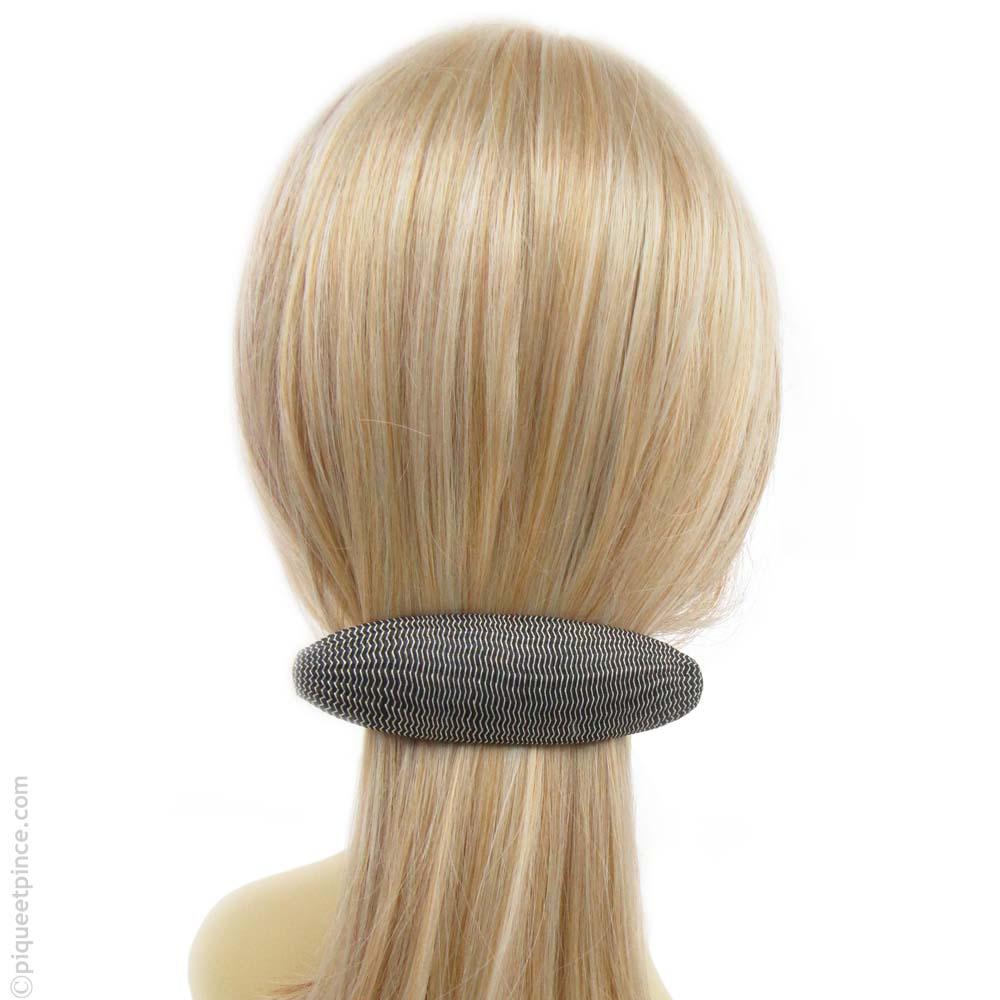 barrette à cheveux  tissage argent et noir