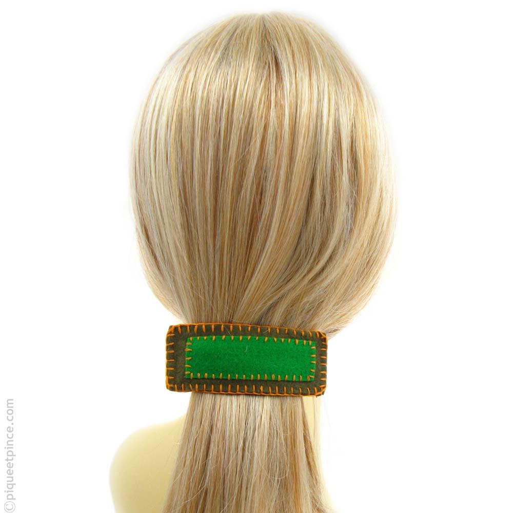 barrette cheveux feutrine verte