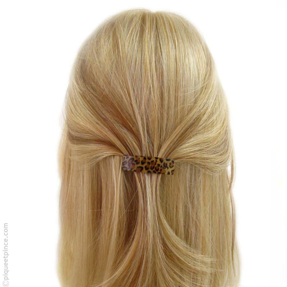 barrette  à cheveux léopard rectangle