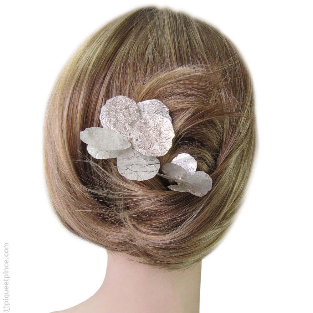Pics à cheveux pétales argentés