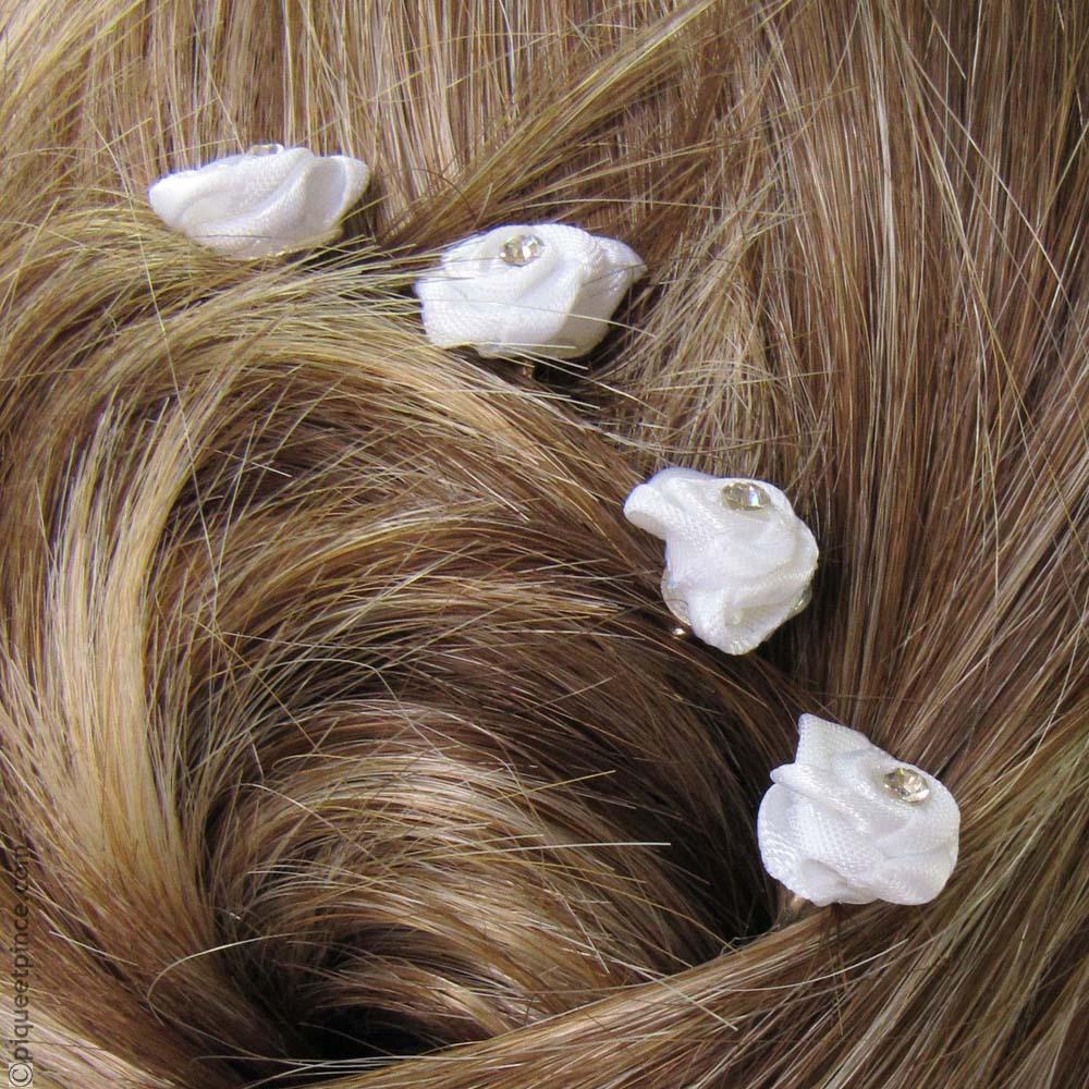 Pics à cheveux fleur tissu et strass