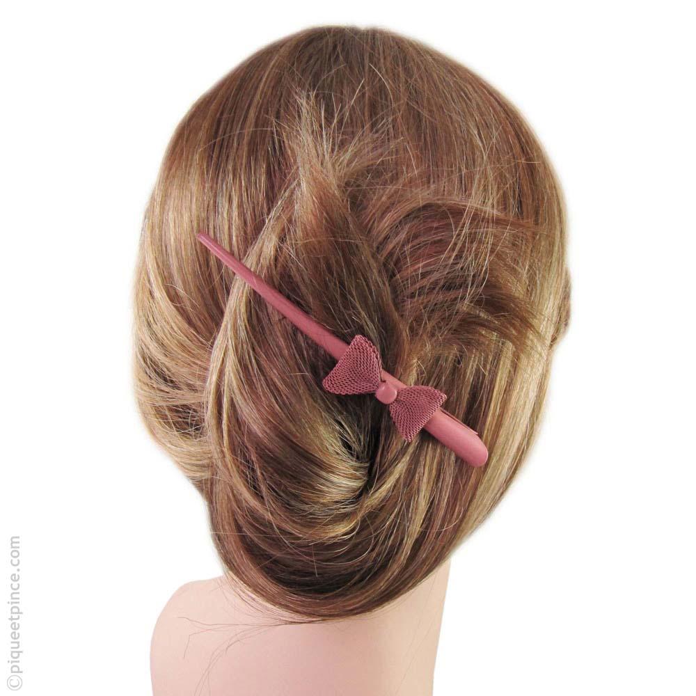 pince à cheveux vieux rose et noeud