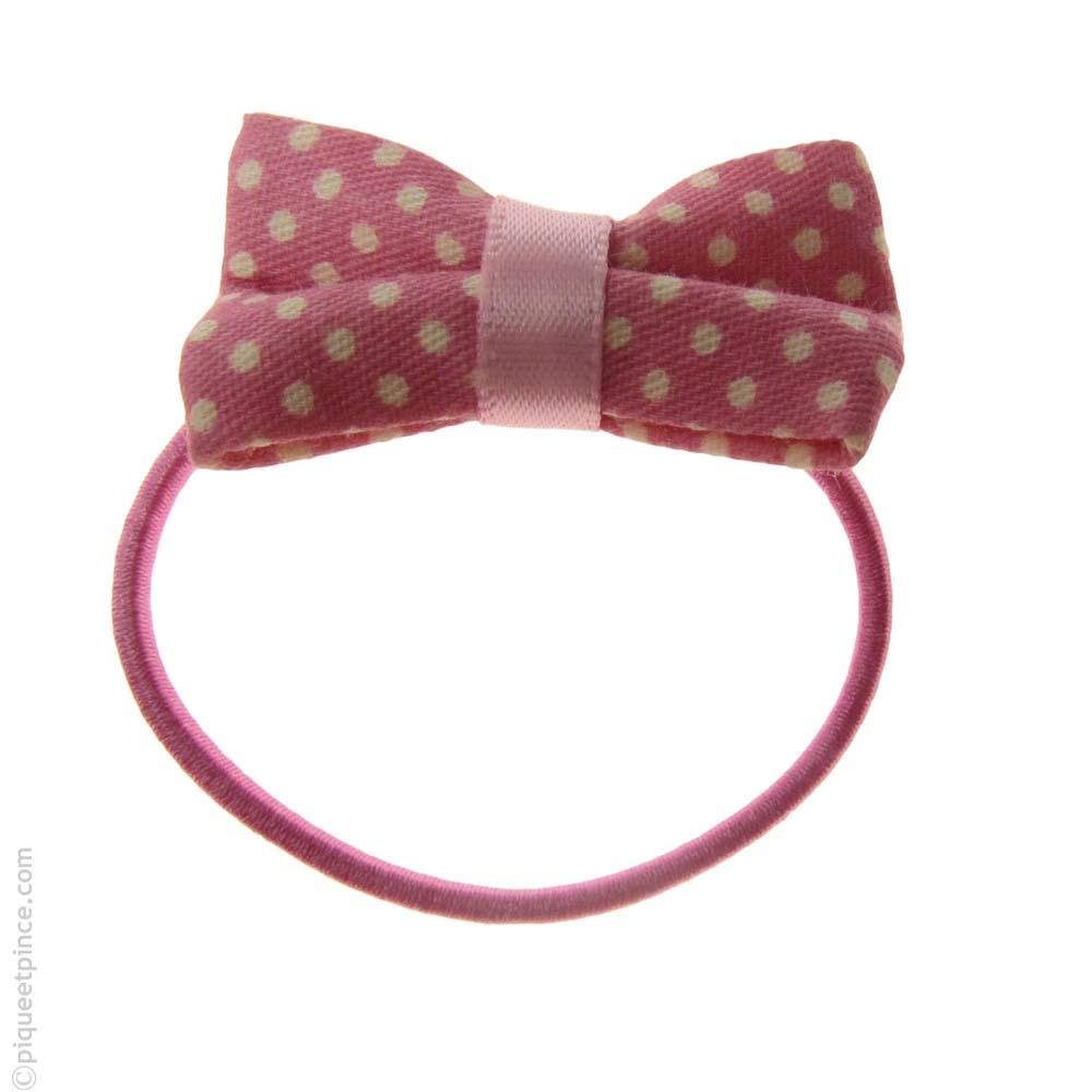 élastique à cheveux noeud rose à pois