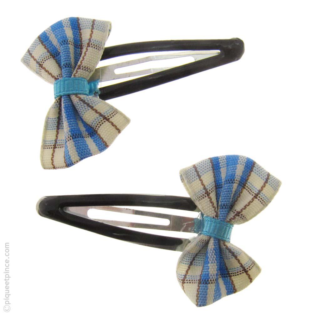 barrettes cheveux noeud bleu
