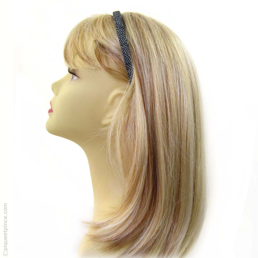 Serre-tête cheveux tissu chevron  gris clair
