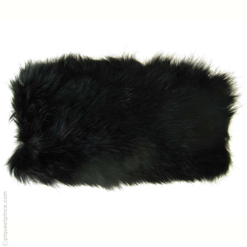 bandeau cheveux fourrure noire