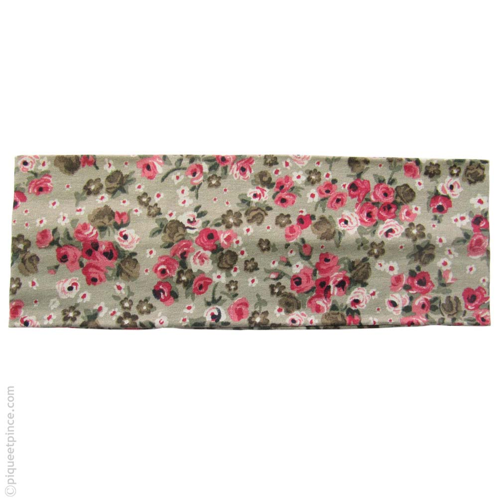 bandeau pour cheveux beige fleurs roses