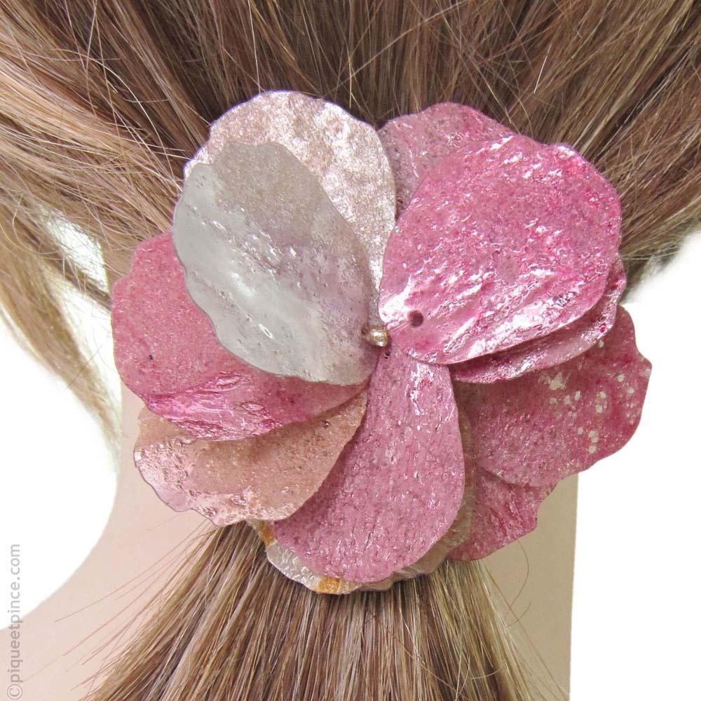 elastique à cheveux pétales argent et rose