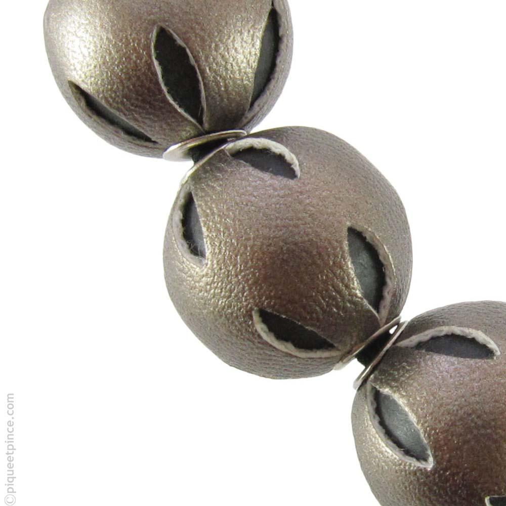 elastique pour cheveux perles  bronze