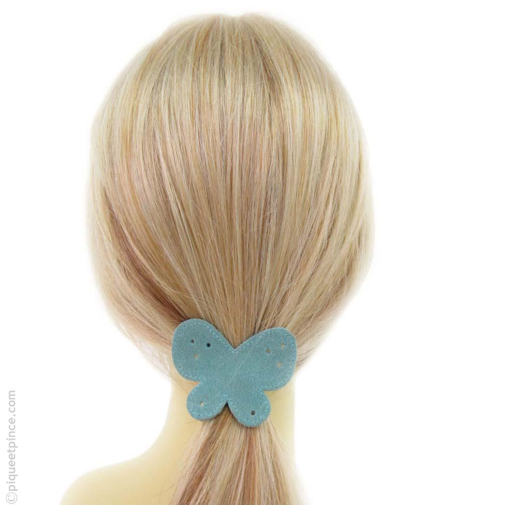élastique cheveux papillon bleu