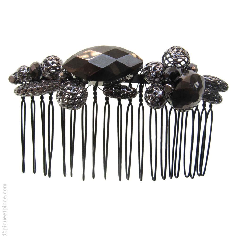 peigne à cheveux noir métal et pierres