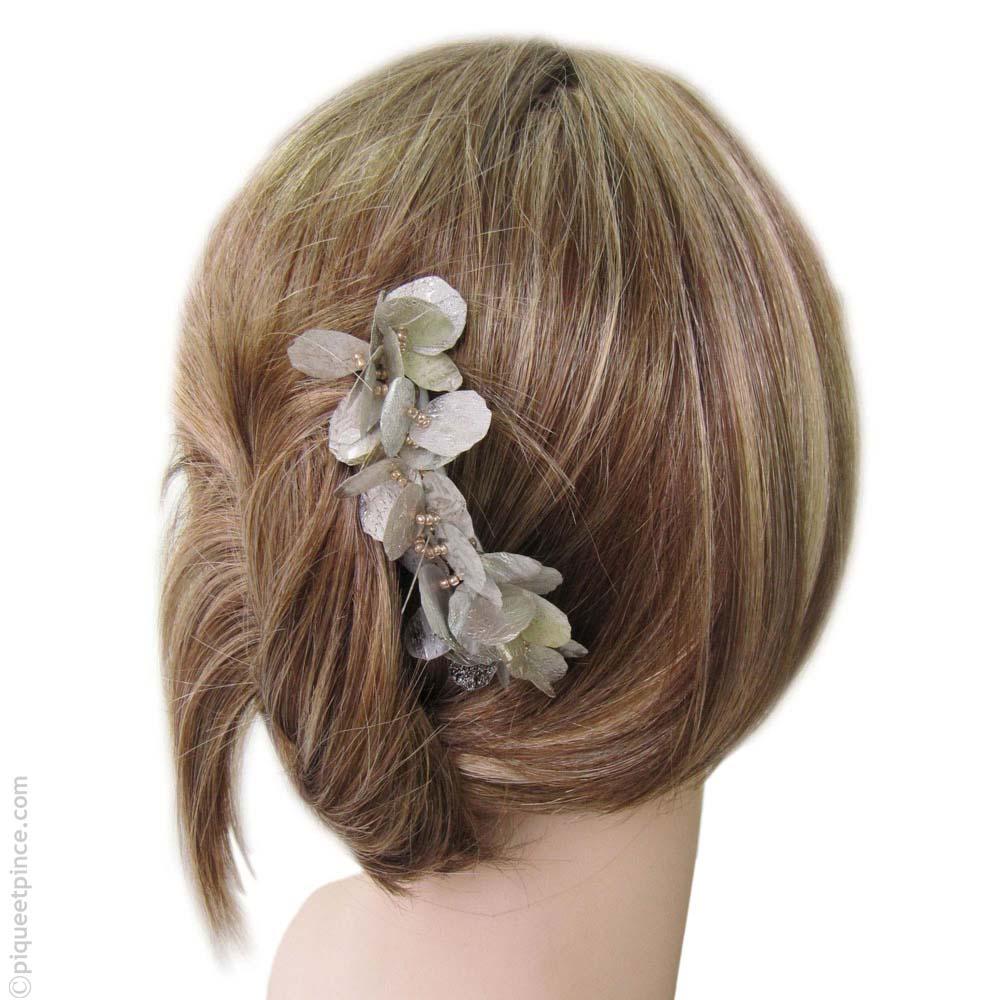 peigne cheveux  pétales argent