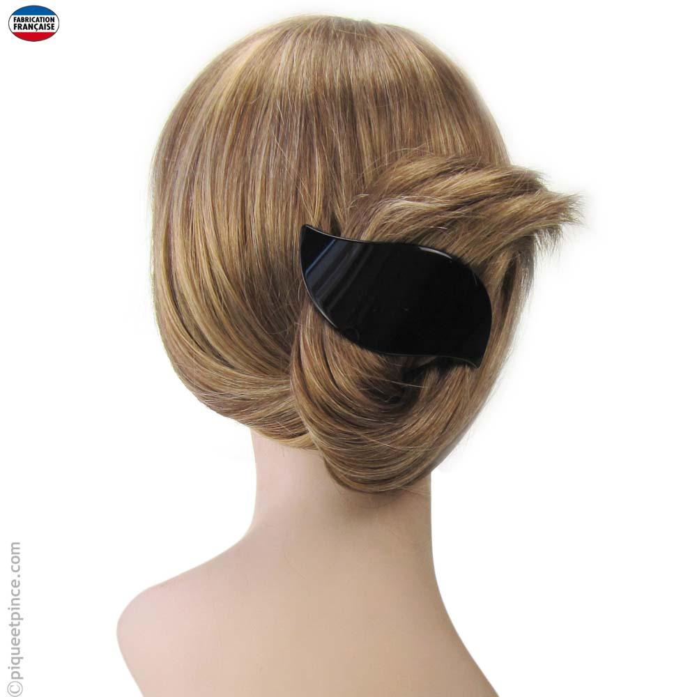 Grande barrette cheveux noire vague