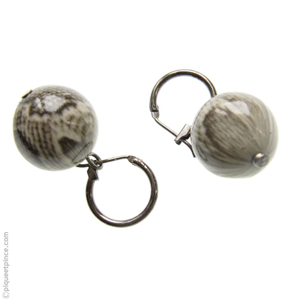 Boucles d\'oreilles perle ronde Python