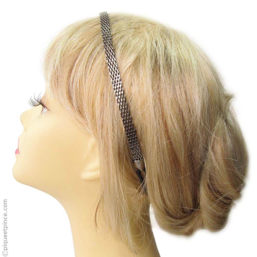 Serre-tête élastique chaîne plate argentée