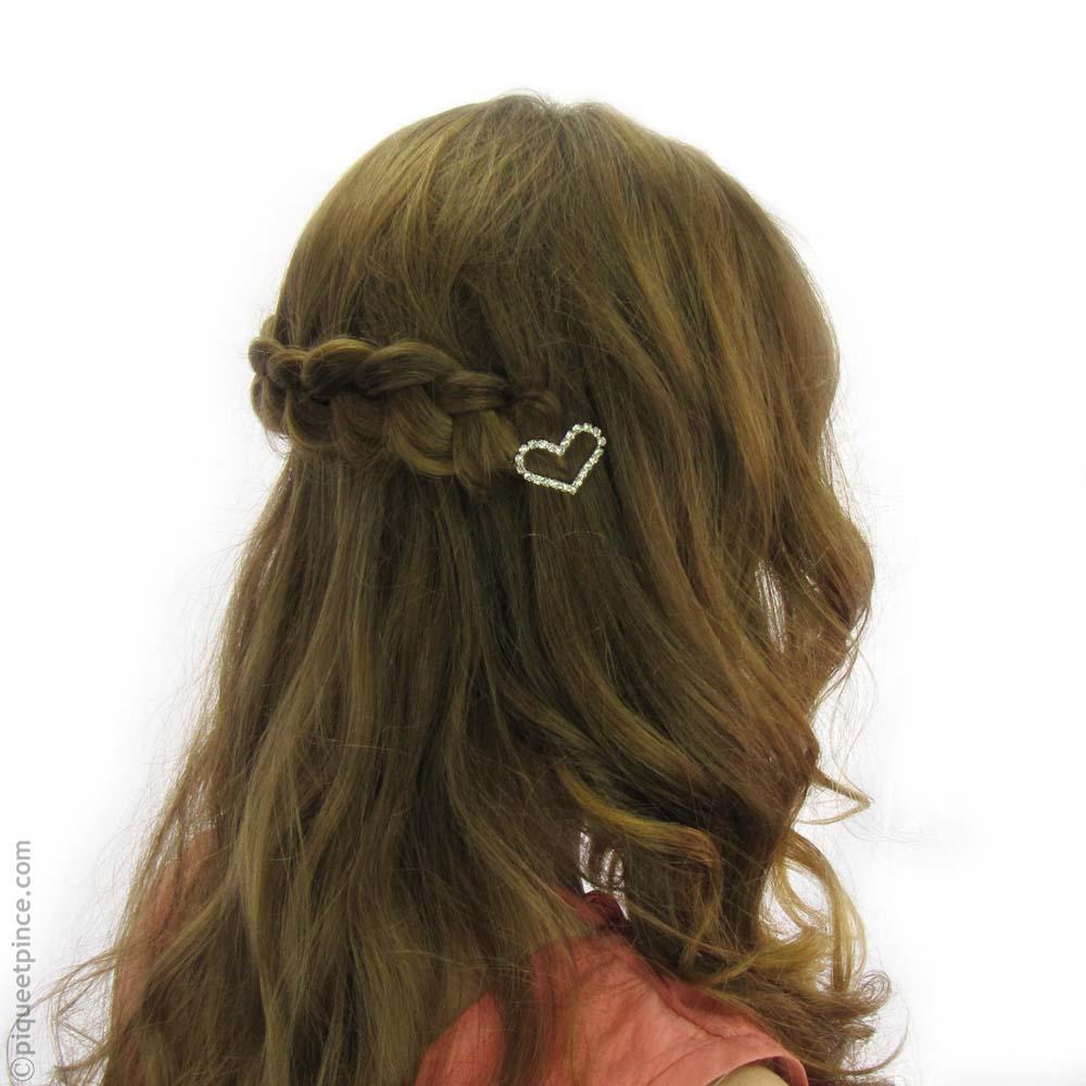 Barrette à cheveux coeur de strass