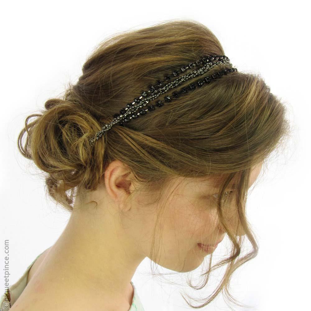 headband strass noirs et chaîne