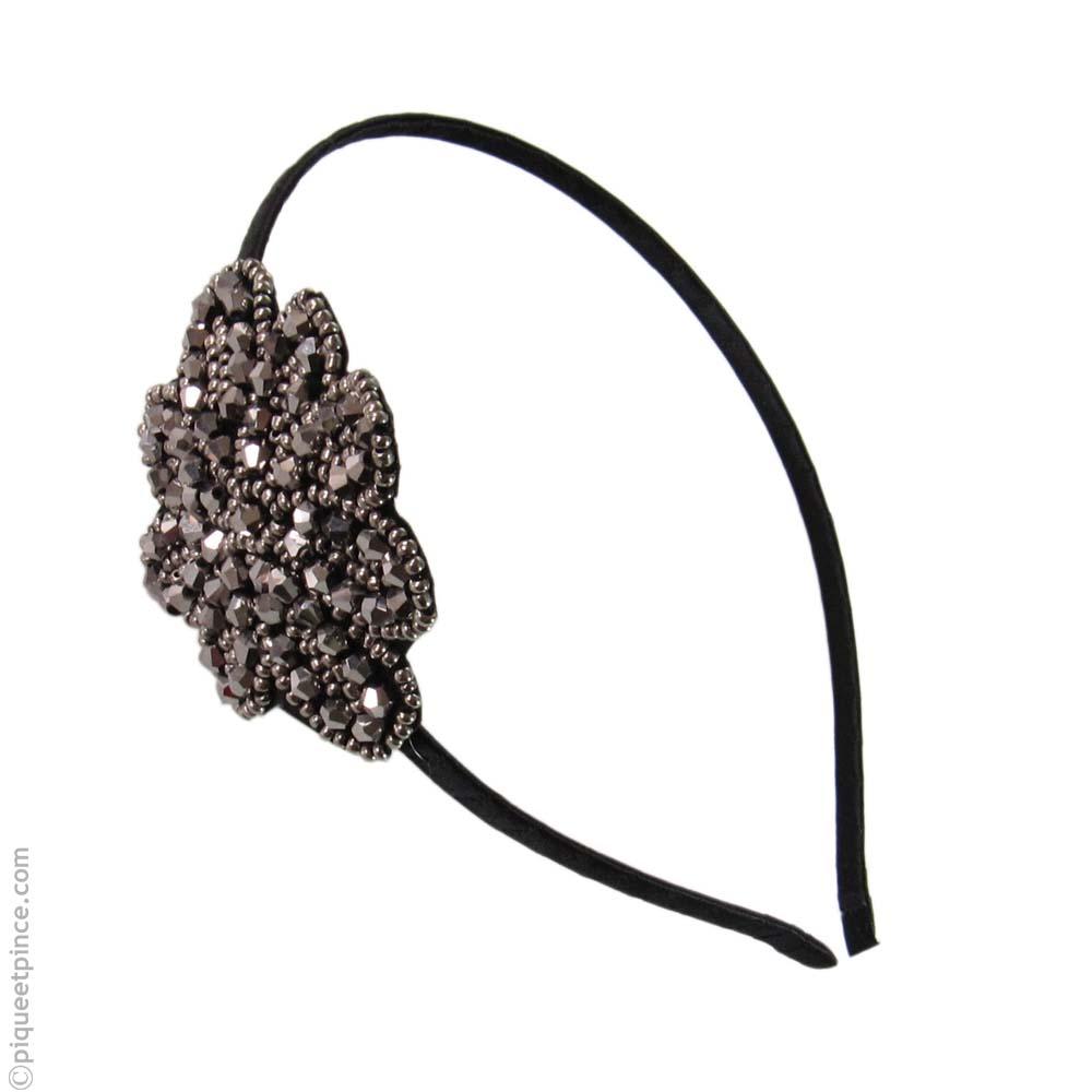 Serre-tête fleur hématite