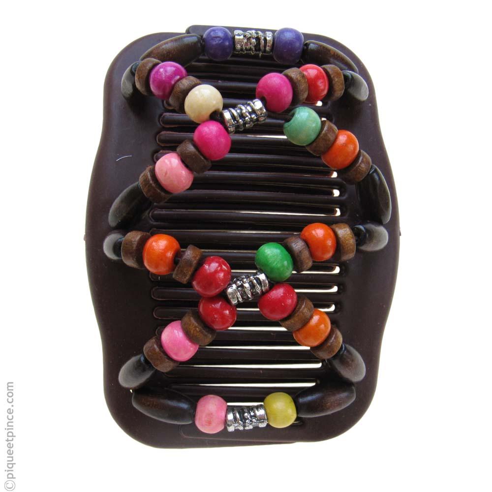 peignes marrons perles multicolores