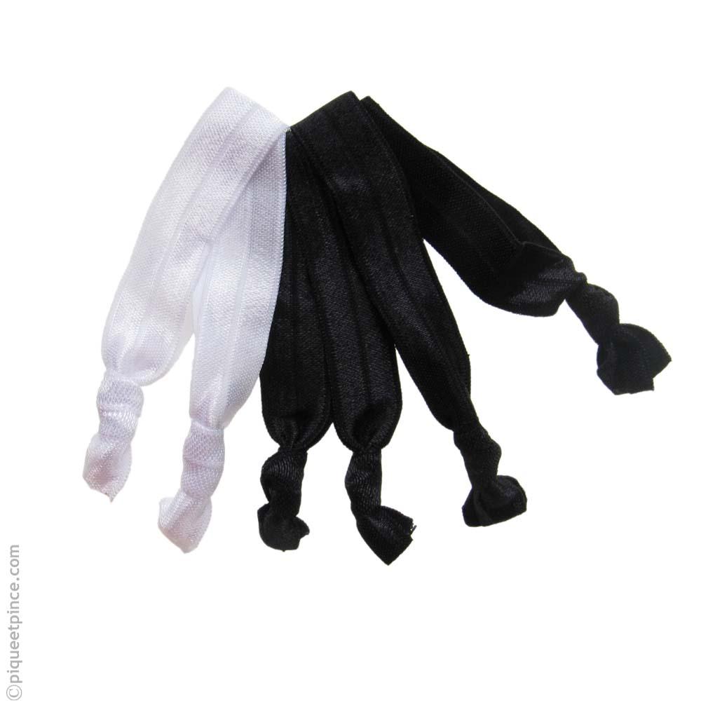 ruban élastique cheveux et bracelet noirs et blancs a copie