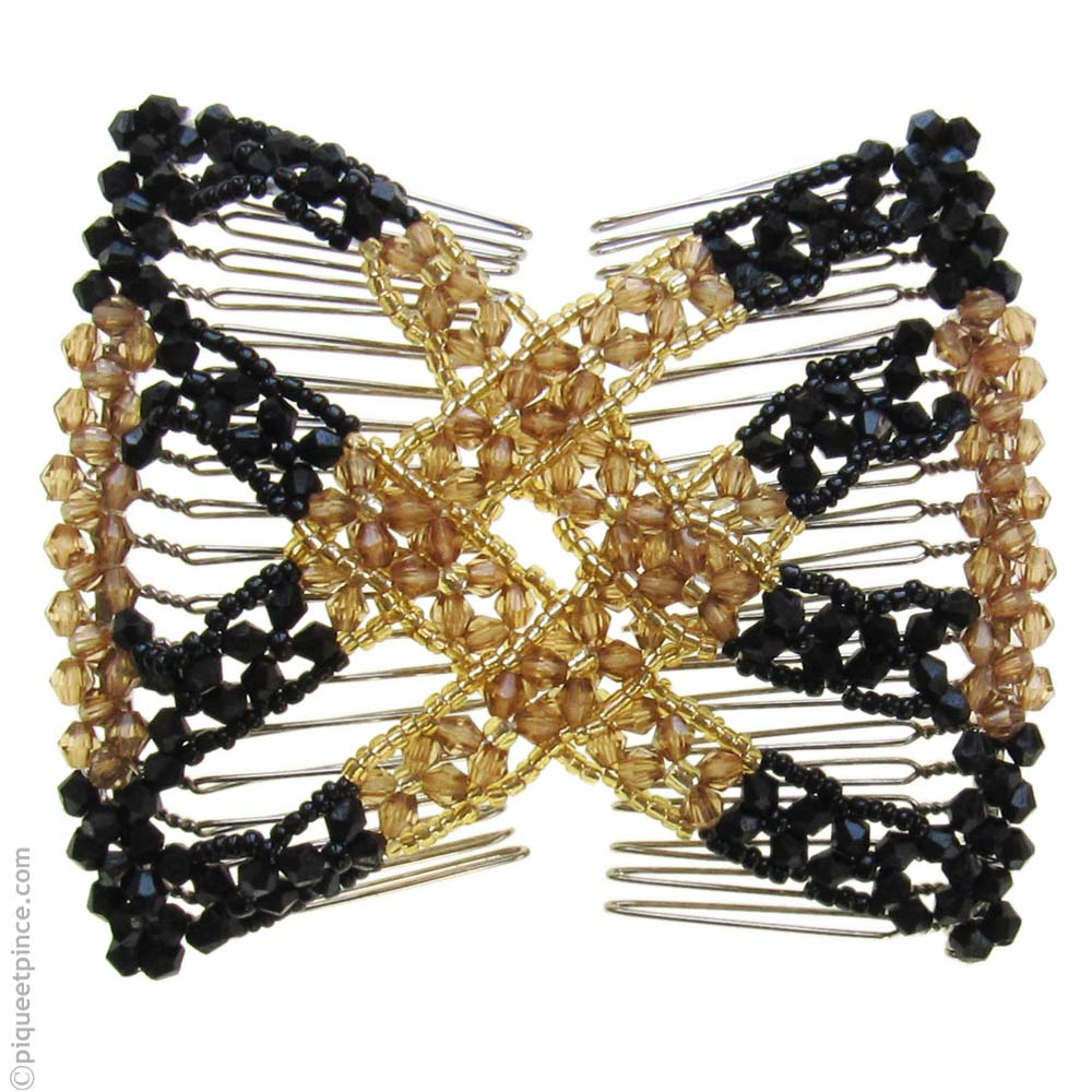 Peigne brésilien perles noires et miel