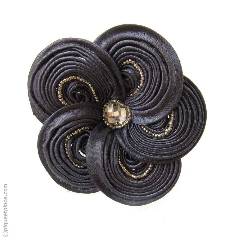 élastique cheveux fleur satinée