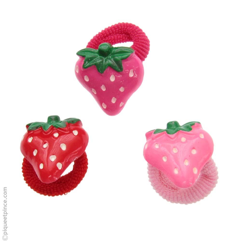 Élastiques fraises rouges, fuchsia ou roses