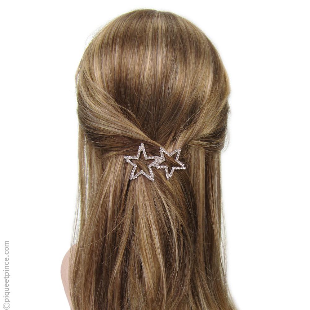 barrette cheveux  strass étoiles argentées