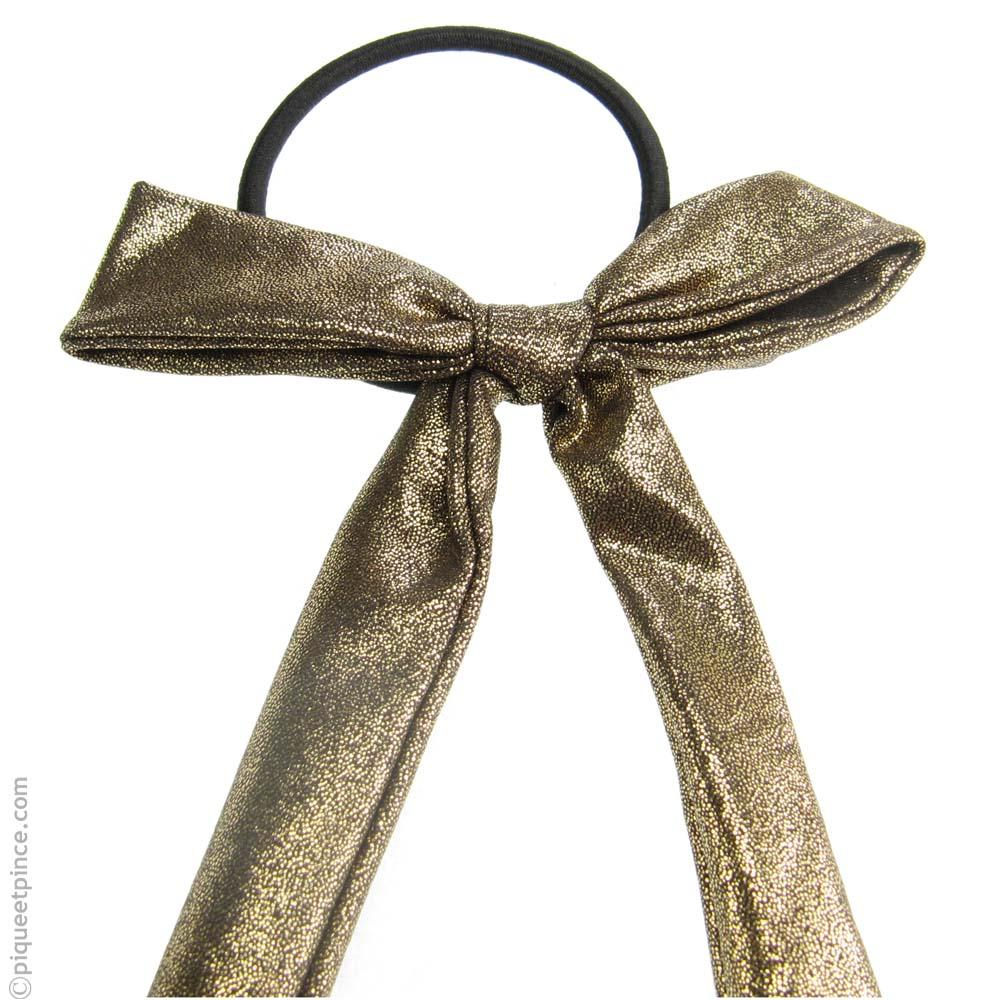 élastique pour cheveux noeud en tissu lamé or