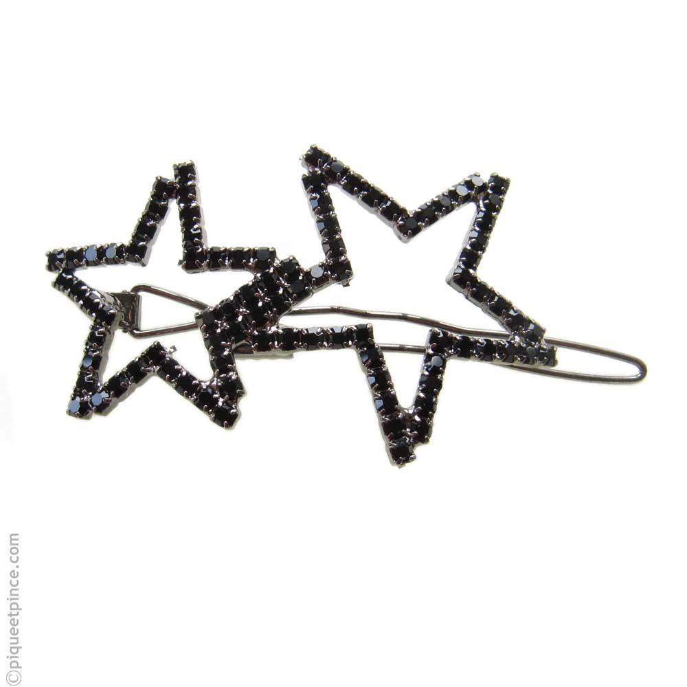 barrette strass étoiles noires