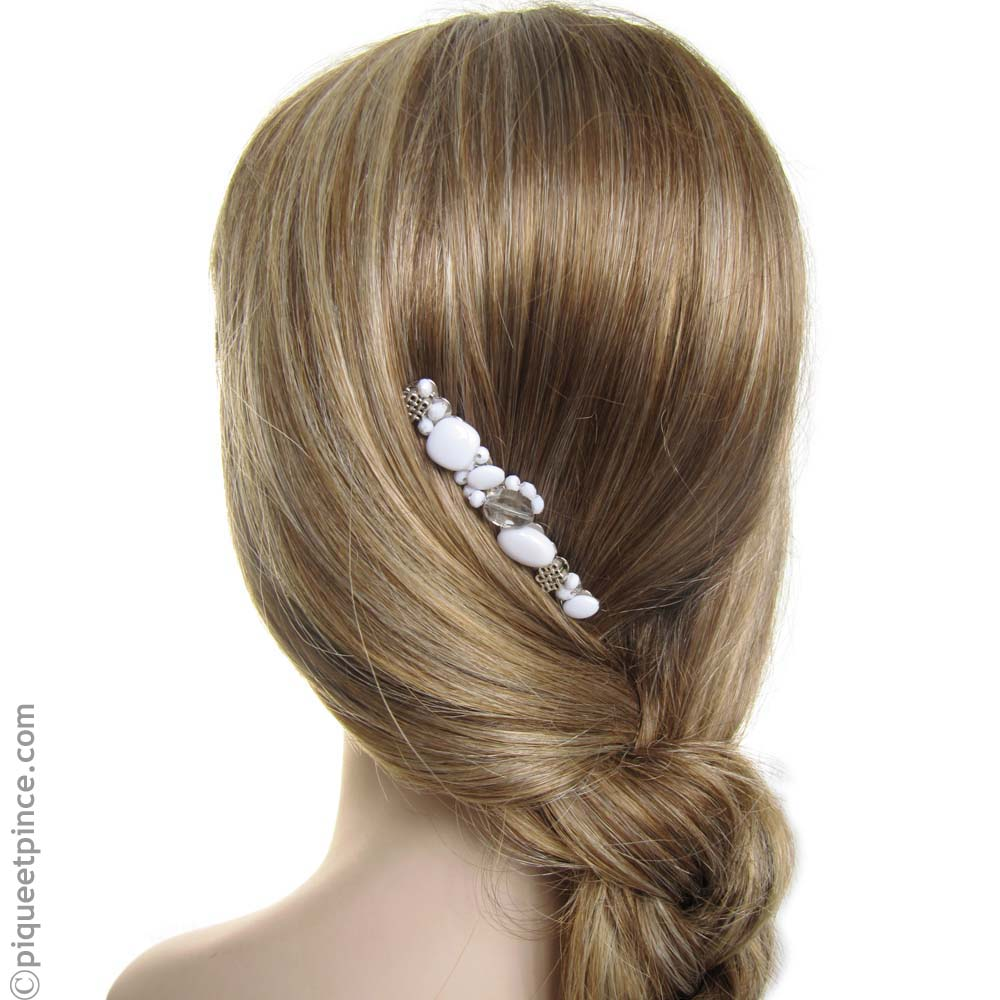 Peigne mariage perles blanches