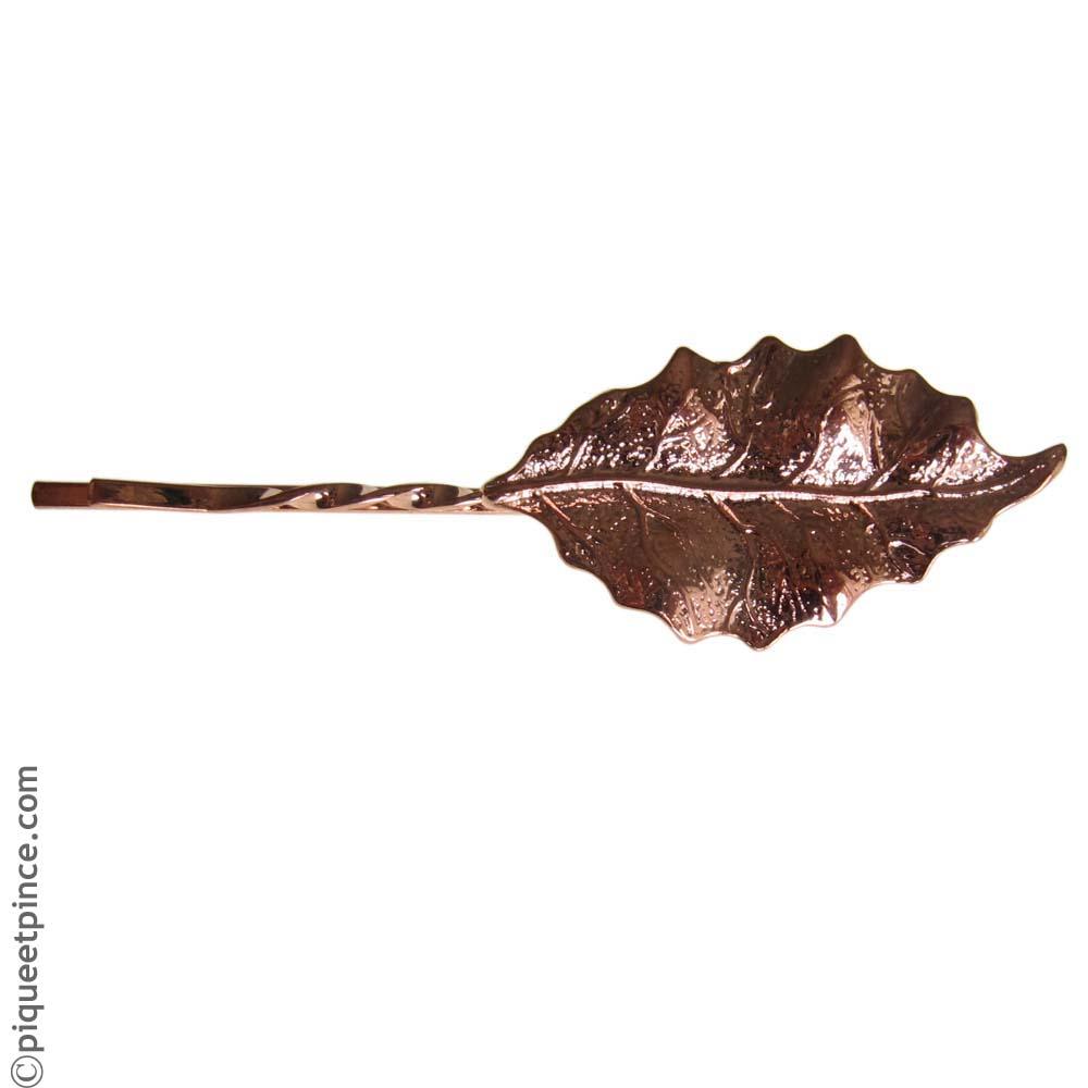 barrette kirby feuille bronze