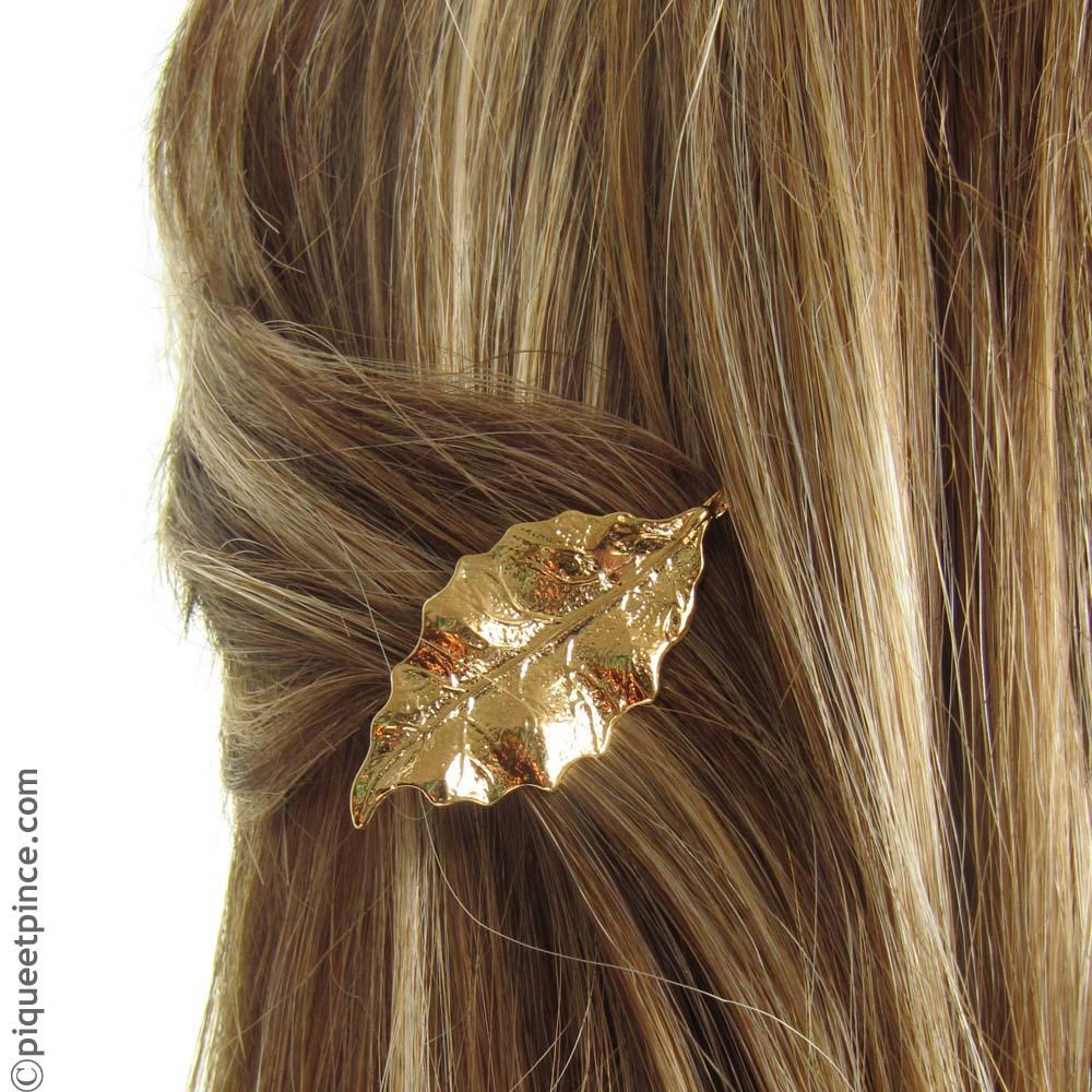 magasin discount remise pour vente magasin britannique Bijou de cheveux feuille métal doré