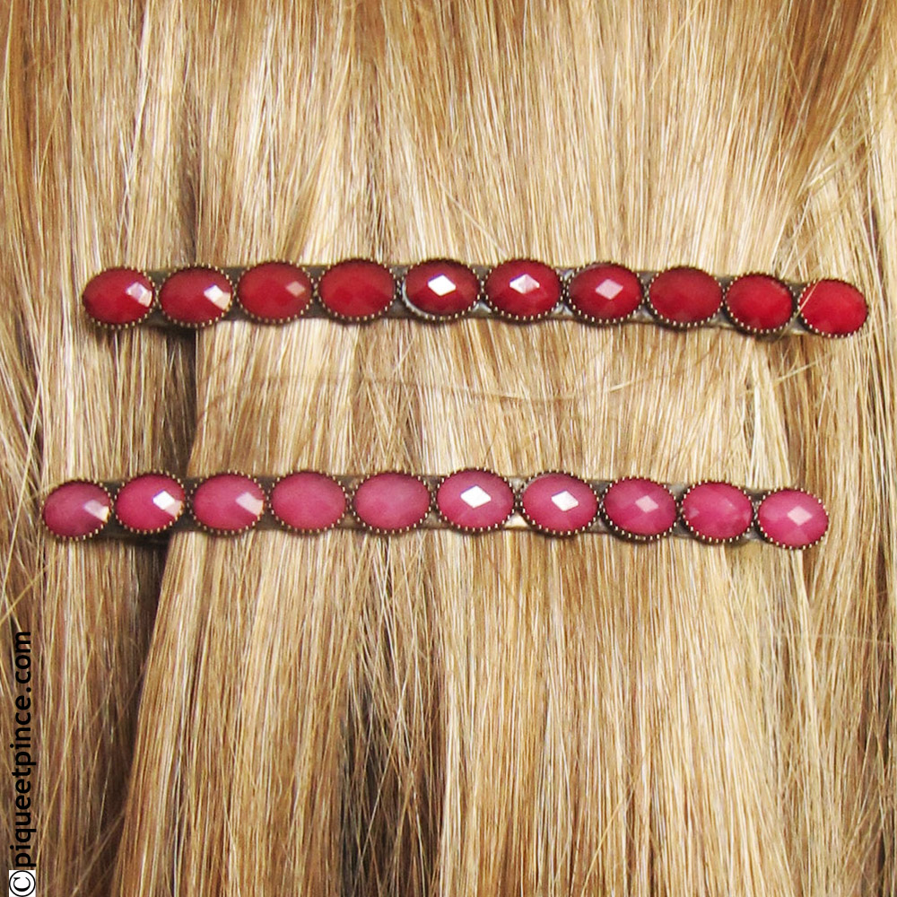 Fine barrette cheveux vintage rouge ou rose