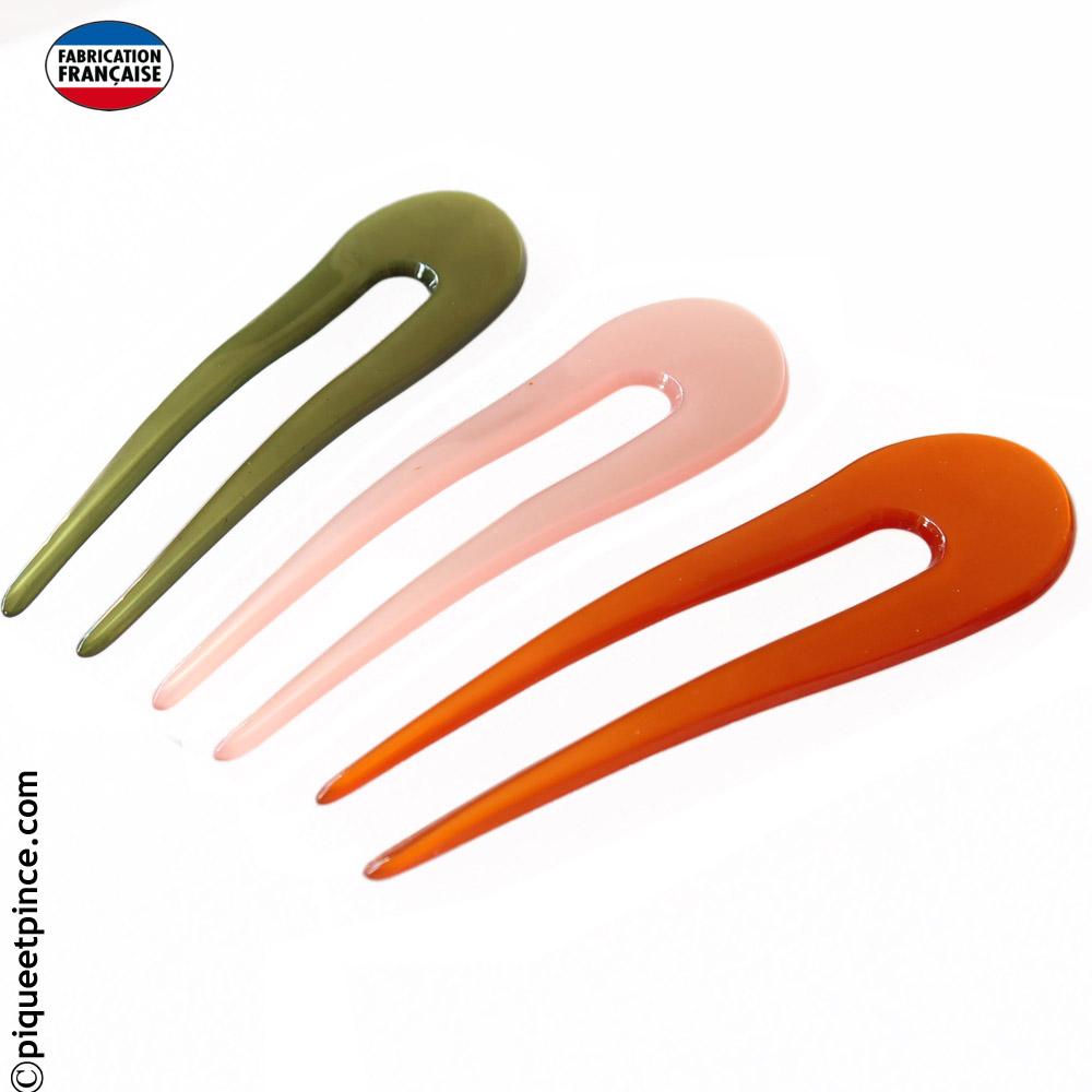 Épingle à chignon fait main couleur rose pale, vert ou orange 9,5 cm
