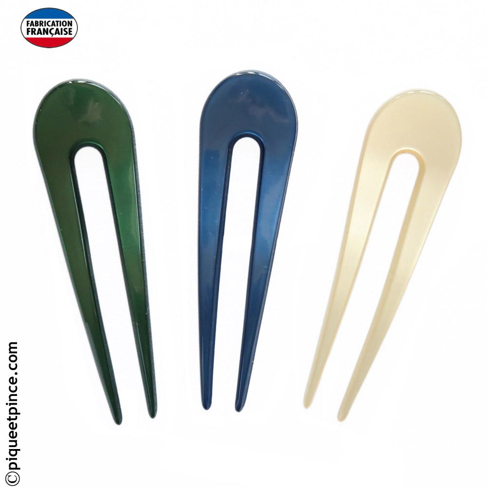 Épingle à chignon fait main verte, bleu ou vanille 9,5 cm
