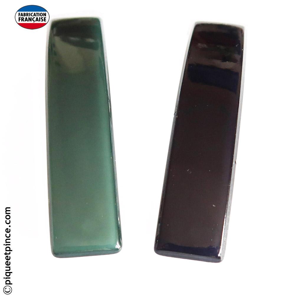 Barrette couleur opale vert sapin ou bleu nuit intense 9 cm