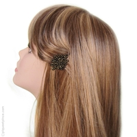 Barrette cheveux fleur noire et or