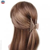 Pince à cheveux taupe avec liseré beige