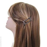 Barrette cheveux rectangulaire marron, crème et noir