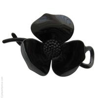Barrette cheveux croisée grande fleur noire