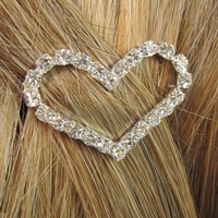 Barrette cheveux coeur de strass