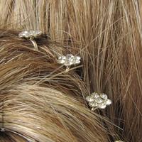 pics cheveux  mini fleurs strass
