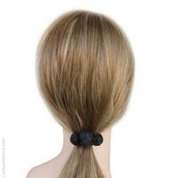 Élastique à cheveux noir 3 boules passementerie