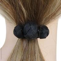 Élastique cheveux noir 3 boules passementerie