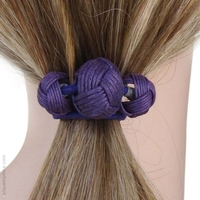 Élastique à cheveux violet 3 boules passementerie