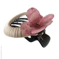 pince cheveux   pétales roses