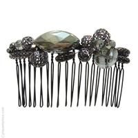 bijou cheveux vert métal et pierres