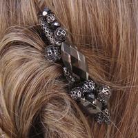 peigne à cheveux perles noir et métal